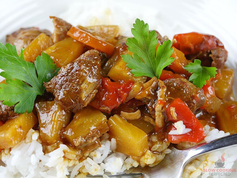 Sweet and Sour Pork cooked in the Slow Cooker