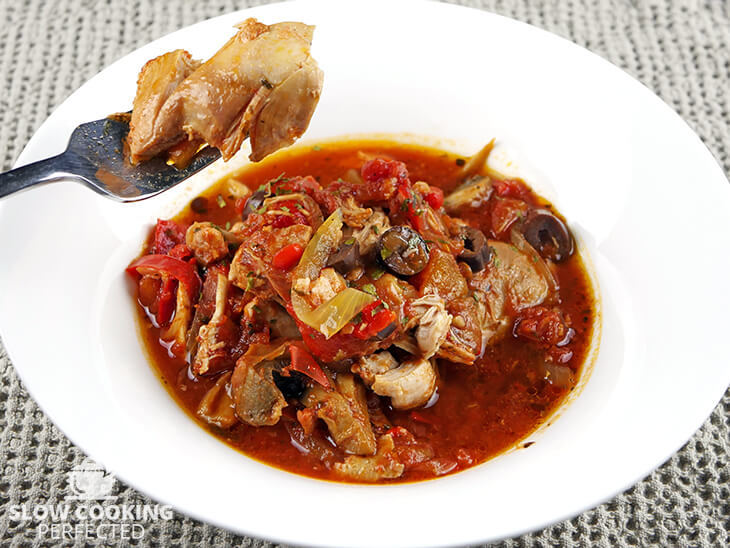 Chicken Cacciatore Cooked with Red Wine
