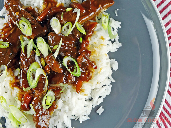 Slow Cooker Mongolian Beef made with Hoisin Sauce