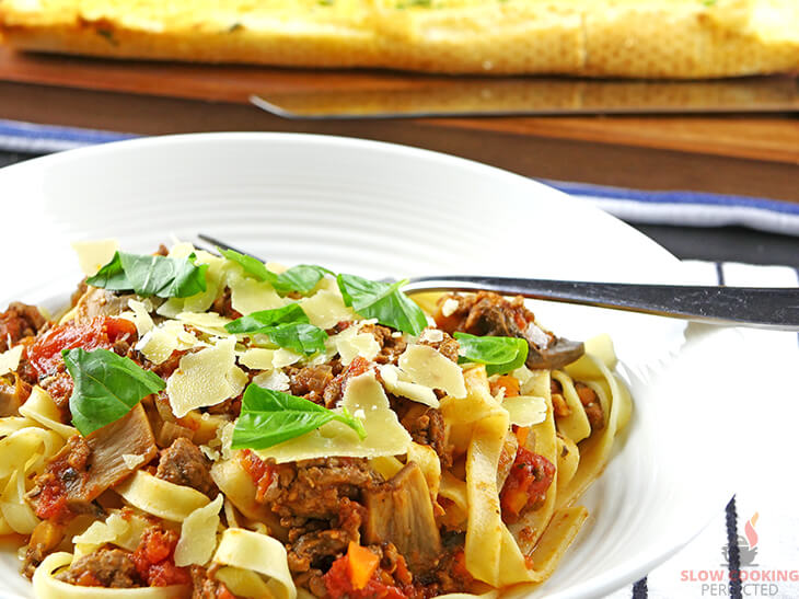 Bolognese Sauce topped with Basil and Parmesan