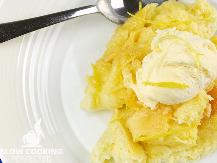 Lemon Delicious Pudding with Ice Cream
