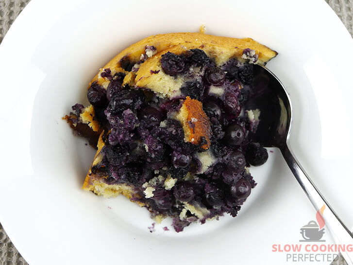 Slow Cooked Blueberry Cobbler in a Bowl