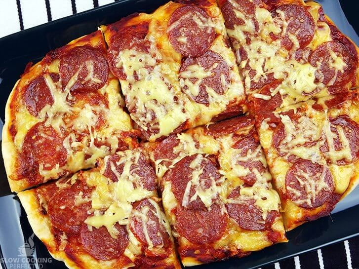 Pizza cooked in the slow cooker