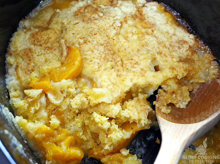 Peach Dump Cake in the Slow Cooker