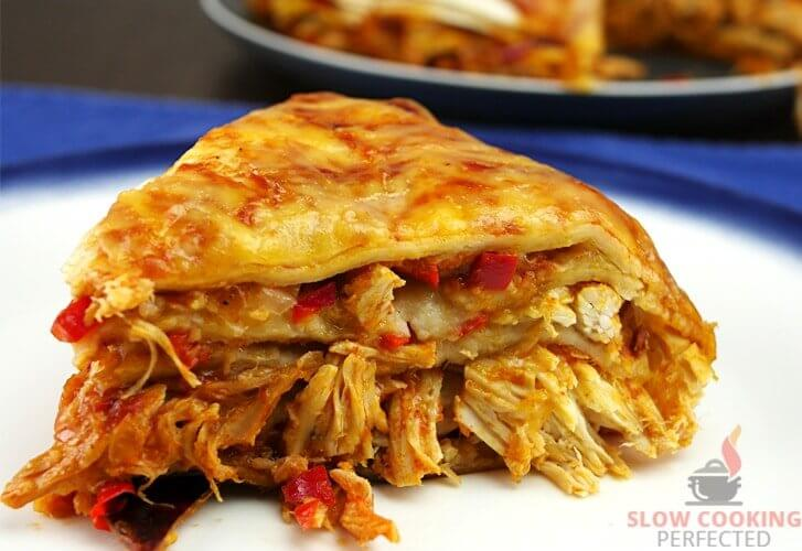 Layered Slow Cooker Chicken Enchiladas