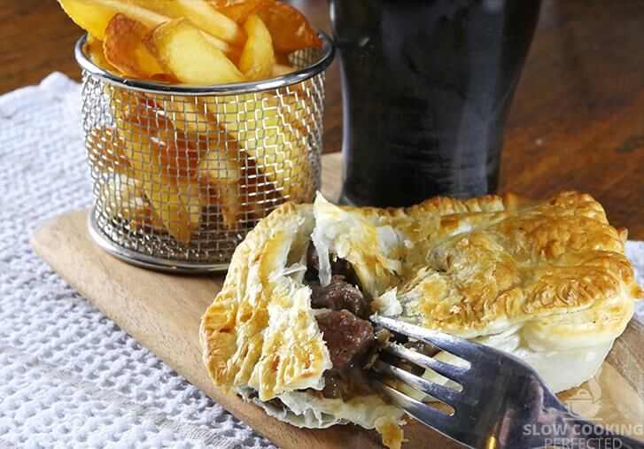Slow-Cooked Beef and Guinness Pie with Puff Pastry