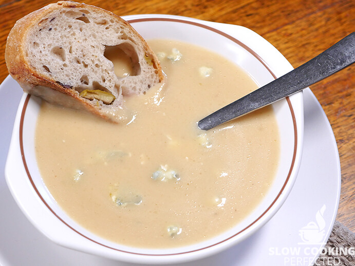 Parsnip and Blue Cheese Soup with Olive Bread