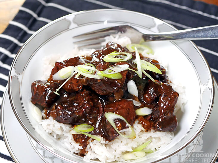 Slow Cooker Korean Beef with Rice and Scallions