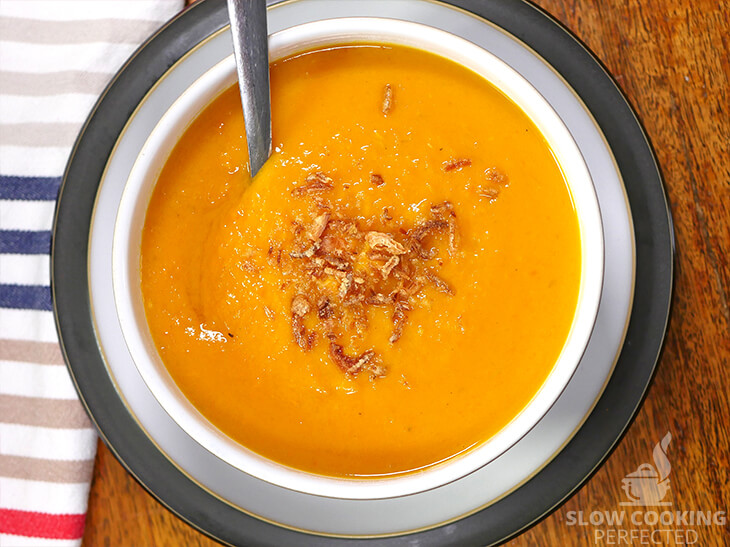 Slow Cooker Sweet Potato Soup with Dried Shallots