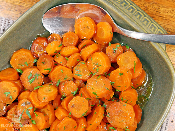 Slow Cooked Glazed Carrots in a brown sugar and butter sauce