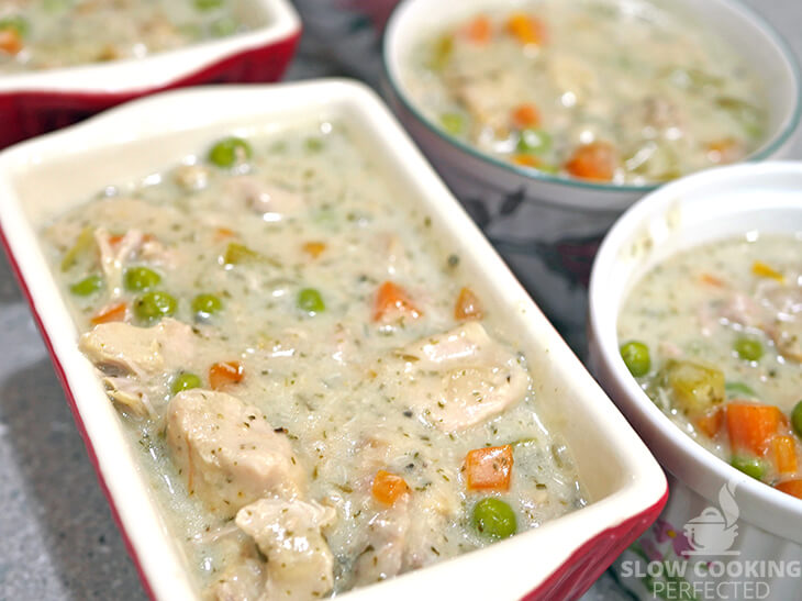 Slow-Cooked Chicken Pot Pie Filling in Pie Dishes
