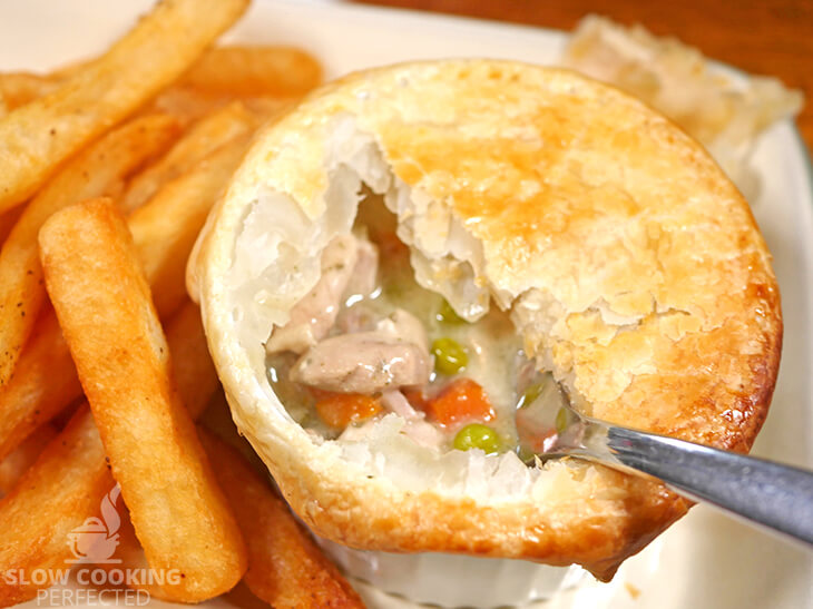 Slow-Cooked Chicken Pot Pie with Puff Pastry