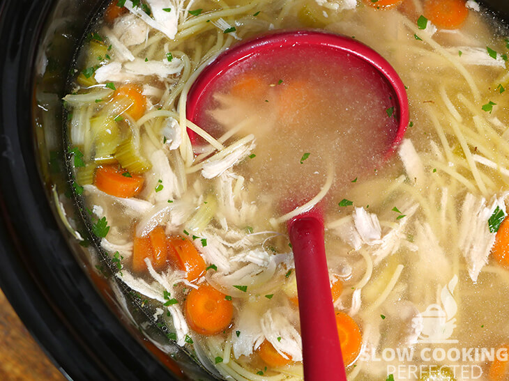 Homemade Chicken Noodle Soup in the Slow Cooker