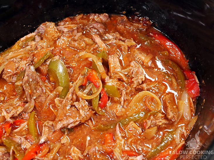 Beef Fajita mix cooking in the Slow Cooker